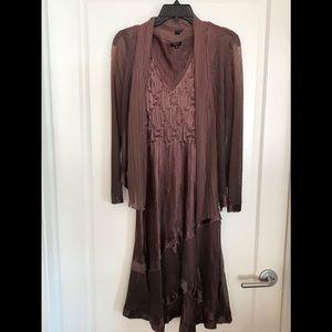 Wine color Dressy Komarov dress with jacket